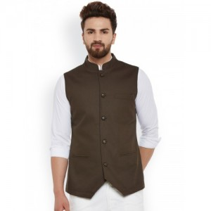 Hypernation Brown Nehru Jacket