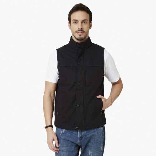 7ff805db64a22 Buy MAX High Neck Sleeveless Button Up Jacket online