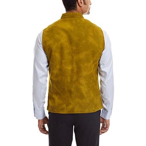 Sobre Estilo Mustard Banded Collar Wool Nehru Jacket