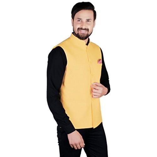 c04212c27 SHOPYBUCKET Yellow Colour Linen Material Long Sleeve Nehru ...