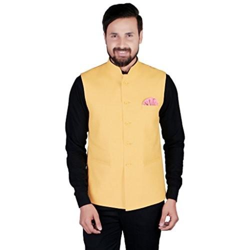 602985617 Buy SHOPYBUCKET Yellow Colour Linen Material Long Sleeve Nehru ...