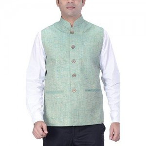 KISAH Men's Woven Cotton Silk Green Nehru Jacket
