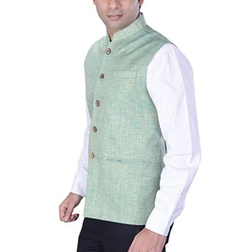 KISAH Men's Woven Cotton Silk Green Nehru Jacket