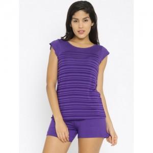 Enamor Purple Striped Lounge Set TP36