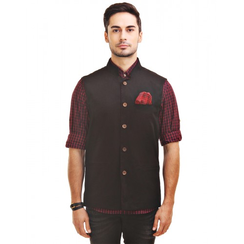 b46419eee Chokore Men s Reversible Black Red Checks   Black Cotton Nehru Jacket ...