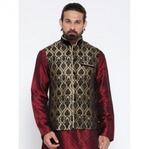 Manu Beige & Black Patterned Nehru Jacket
