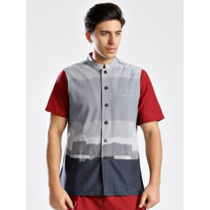 Fabindia Grey Ikat Nehru Jacket