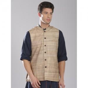 Fabindia Beige Silk Nehru Jacket