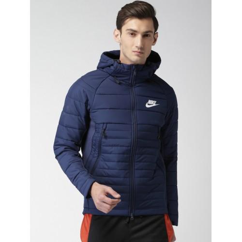 945e9c9aa66d Buy Nike Men Blue Solid AS M NSW SYN Quilted Hooded Jacket ...