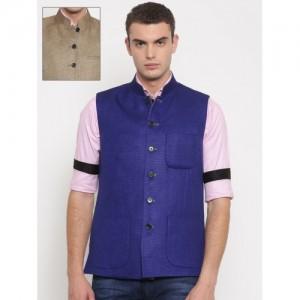 Theme Men Beige & Blue Reversible Nehru Jacket
