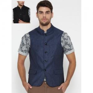 Lombard Blue & Black Slim Fit Reversible Nehru Jacket