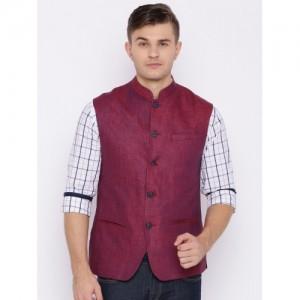 ColorPlus Men Magenta Linen Self Design Custom Fit Nehru Jacket