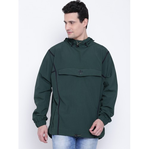Adidas Originals Men Green Taped ANORAK Solid Hooded Sporty Jacket