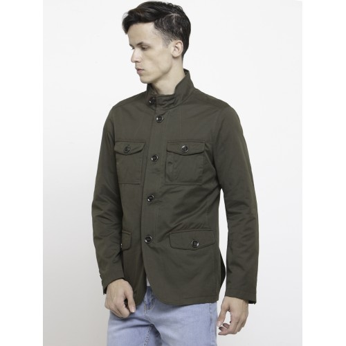 U.S. Polo Assn. Men Olive Green Solid Tailored Jacket