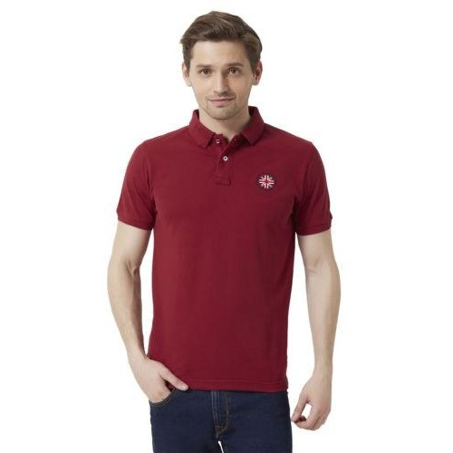 391823d3f54 Buy Peter England Maroon Solid Polo Neck T- Shirt online