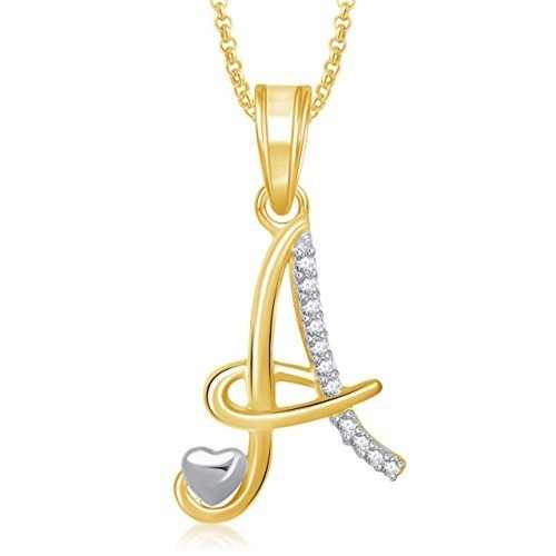 Meenaz 'A' Letter Pendant Locket Gold Plated Alphabet Heart For Men And Women With Chain