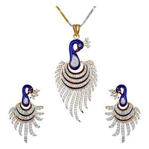 YouBella Multicolor Metal CZ Peacock Pendant Set with Chain