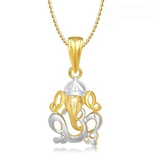 Meenaz Gold Plated  Cz Om Ganpati Pendant With Chain
