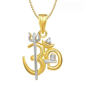Meenaz Om Pendant Locket With Chain