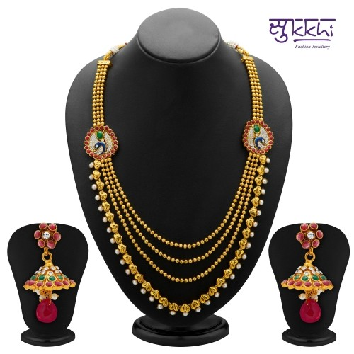 Sukkhi Glistening Peacock Gold Plated Ad Four String Necklace Set