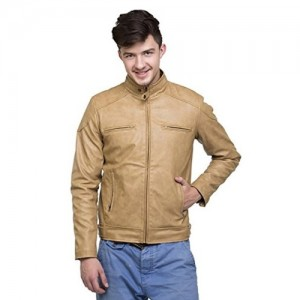 Zacharias Beige Pu Faux Leather Full Sleeves Jacket