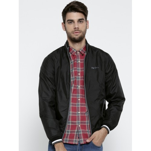 in Solid Jacket Looksgud Pepe Jeans Black Online Men Bomber Buy qSIxwzTZz