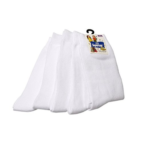 Supersox Kid's White Combed Cotton School Socks Pack of 5