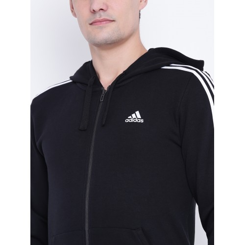 online retailer 49491 34d03 Adidas Men Black ESS 3S FZ FT Solid Hooded Bomber Jacket ...