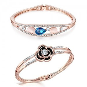 Jewels Galaxy Exclusive Limited Edition Elegant AD Floral Design And 18K Rose Gold Plated Crystal Adjustable Marvellous Bracelet For Women/Girls - Combo of 2