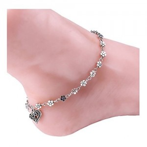 Bold N Elegant Antique Silver Plated Five Petal Flower Anklet Ankle Bracelet Barefoot Foot Jewelry
