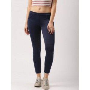 DressBerry Navy Blue Cotton Ankle-Length Jeggings