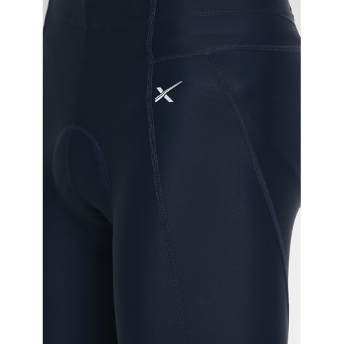 HRX by Hrithik Roshan Men Navy Solid Skinny Fit Cycling 3/4 Shorts