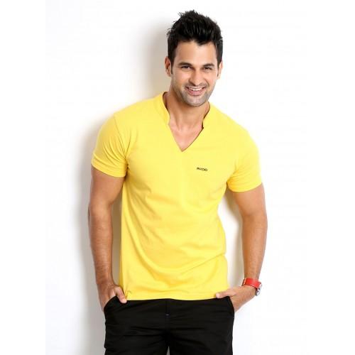 Rodid Solid Men's V-neck Yellow T-Shirt