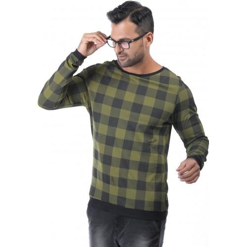 Rodid Checkered Men's Boat Neck Green T-Shirt