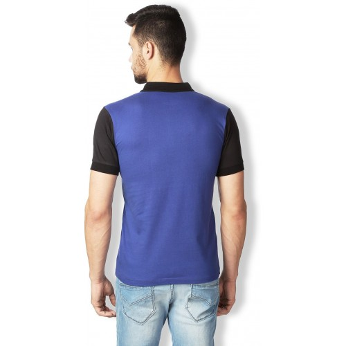 Rodid Solid Men's Henley Blue, Black T-Shirt