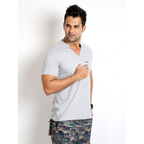 Rodid Solid Men's V-neck Grey T-Shirt