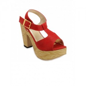 Nell Women Red Printed Heels