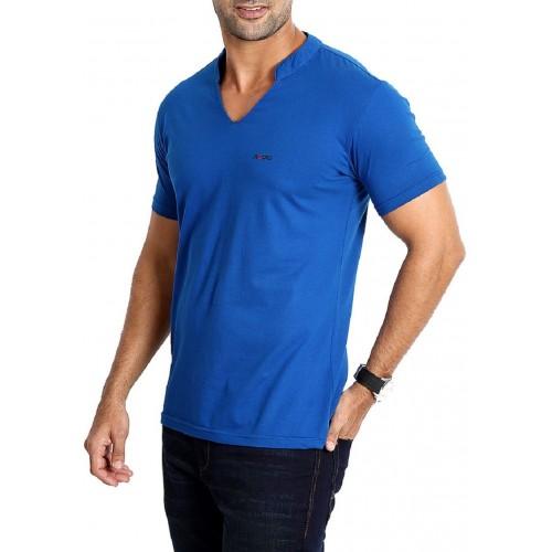 Rodid Solid Men's V-neck Blue T-Shirt