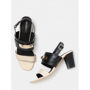 DressBerry Women Black Colourblocked Block Heels