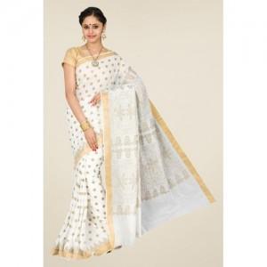 Pavecha's White & Gold Mangalagiri Cotton Silk Saree