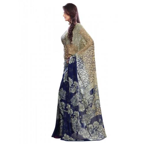29b45caa27f Buy Ligalz Blue Printed Semi-Chiffon Saree online