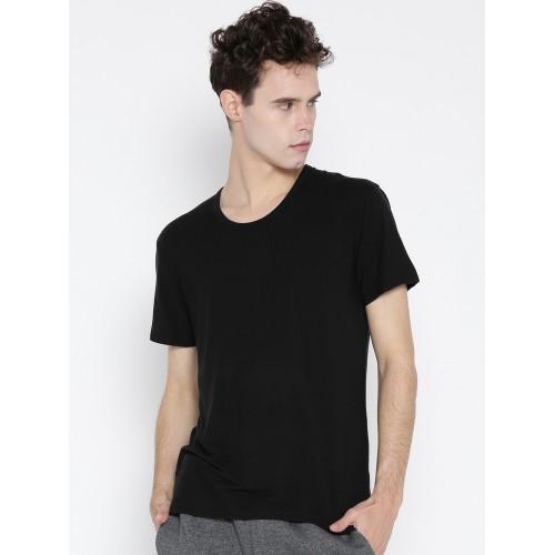 Jockey Black Self-Striped Thermal T-shirt