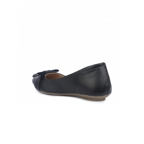 Shoetopia Women Black Solid Synthetic Ballerinas