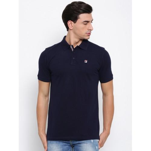 Buy FILA Men Navy Solid Polo Collar T-shirt online   Looksgud.in