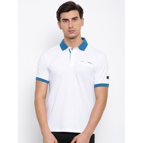 f3fcb974ca9 Buy FILA Men White Self-Design Polo Collar T-shirt online