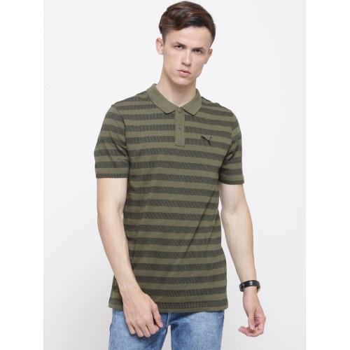 5c50c5cbac0 Buy Puma Men Olive Green & Black Striped Polo Collar T-shirt online ...