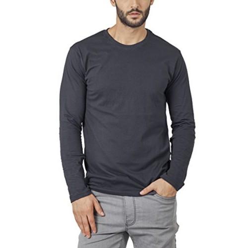 6677306b383 ... Bewakoof Stone Grey Plain Men s Round Neck Full Sleeve T-Shirts ...