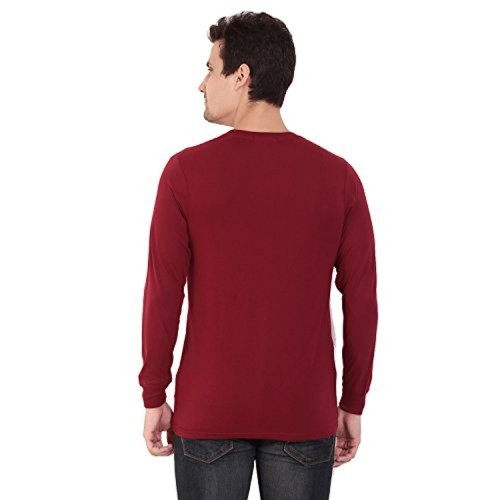 98c7e1220 ... CHKOKKO Round Neck Half sleeves and full sleeves Solid Plain Collar  Cotton T shirt Regular Fit ...
