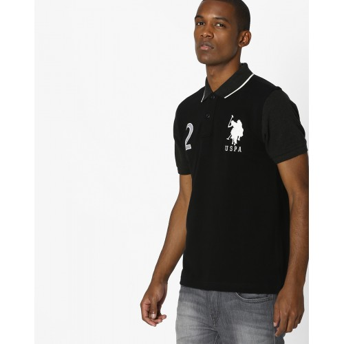 2063071f Buy U.S. Polo Assn. Black Solid Straight Fit Polo T-Shirt online ...