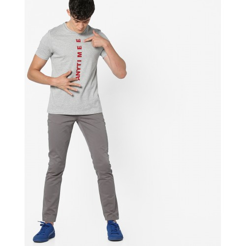 AJIO Slim Fit Typographic Print T-shirt